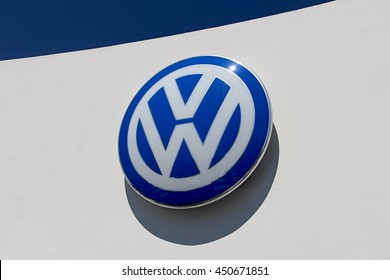 BRIE COMTE ROBERT, FRANCE - JULY 9, 2016: Volkswagen logo. Volkswagen is a German automotive group founded in 1937.
