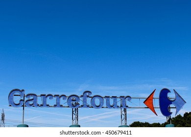 BRIE COMTE ROBERT, FRANCE - JULY 9, 2016: Carrefour is a French group of the retail sector.