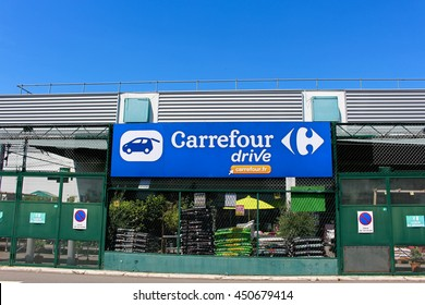 BRIE COMTE ROBERT, FRANCE - JULY 9, 2016: Carrefour drive store. Carrefour is a French group of the retail sector.