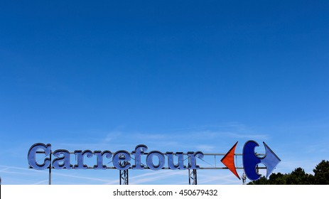 BRIE COMTE ROBERT, FRANCE - JULY 9, 2016: French international hypermarket chain Carrefour sign.