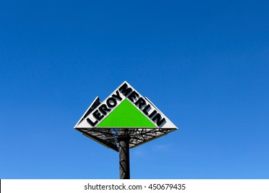 BRIE COMTE ROBERT, FRANCE - JULY 9, 2016: Leroy Merlin logo in blue sky. Leroy Merlin is a major French retail chain specializing in the construction, DIY and gardening.