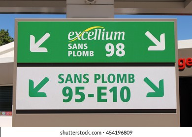 BRIE COMTE ROBERT, FRANCE - JULY 17, 2016: Sign of the essence. Total is a private French oil company.
