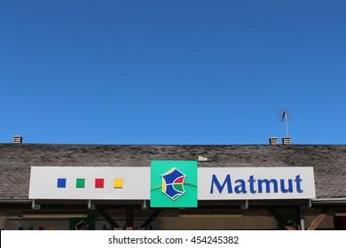 """BRIE COMTE ROBERT, FRANCE - JULY 17, 2016: Matmut sign. Matmut """"Mutual Insurance Mutual workers"""" is a mutual insurance company."""