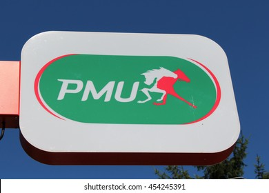 BRIE COMTE ROBERT, FRANCE - JULY 17, 2016: PMU logo. PMU is a French company paris horse whose activities are the design, promotion, marketing and processing of paris on horse races.
