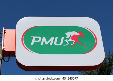 BRIE COMTE ROBERT, FRANCE - JULY 17, 2016: PMU sign. PMU is a French company paris horse whose activities are the design, promotion, marketing and processing of paris on horse races.