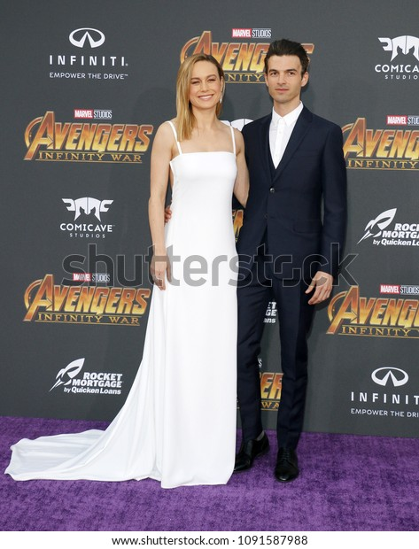 Brie Larson and Alex Greenwald at the premiere of Disney and Marvel's 'Avengers: Infinity War' held at the El Capitan Theatre in Hollywood, USA on April 23, 2018.