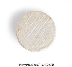 Brie type of cheese. Camembert cheese. Fresh Brie cheese. French cheese. Isolated on a white background.