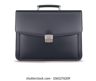 Briefcase for documents isolated on white. Realistic 3d illustration
