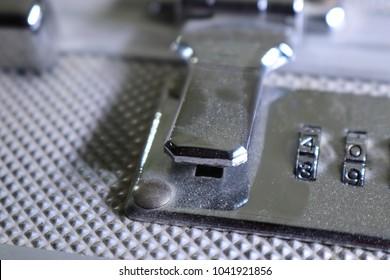 Briefcase lock close up