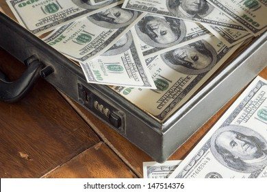 Briefcase and money inside