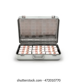 Briefcase ransom Russian rubles / 3D illustration of stacks of Russian five thousand ruble notes inside metal briefcase