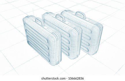 briefcase sketch isolated on white background