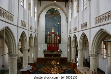 Brielle, The Netherlands - April 28 2018: The interior of the Sint Catharijnekerk in Brielle. The main organ was built by organ builder W. H. Kam