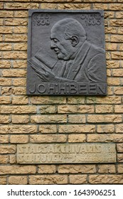 Brielle, The Netherlands - April 28 2018: A plaque in memory of the brielse city archivist and children's book writer Joh.H.Been