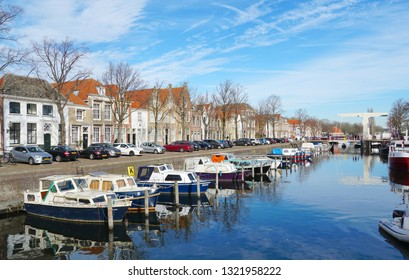 Brielle, the Netherlands. February 2019. Harbor in the historic city center of Brielle, South Holland province, the Netherlands.