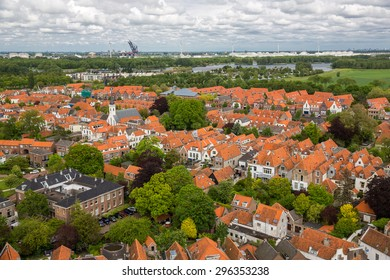 Brielle, Netherlands - May 24, 2015: Aerial view of Brielle, a town, municipality and historic seaport in the western Netherlands.