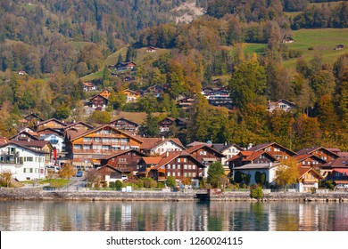 Brienz Lake and lakeside scenery in autumn. Taken on the Brienz, Switzerland. Brienz is a town on the Golden Pass Line.