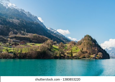 Brienz lake in the sunshine day
