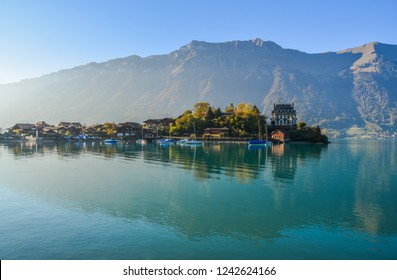 Brienz, Switzerland - Oct 21, 2018. Beautiful town near the Lake Brienz, Switzerland. The turquoise Lake Brienz is set amid the spectacular mountain scenery.