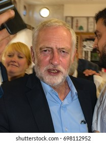 Brierfield, Lancashire England UK - August 17 2017,  Jeremy Corbyn - Leader of the Labour Party visiting Jamia Mosque Sultania in Brierfield 2017