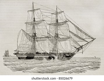 Brig old illustration. By unidentified author, published on Magasin Pittoresque, Paris, 1840