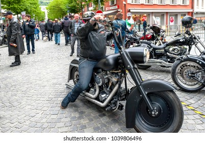 Brig, Switzerland - May 2017: Arriving  to the bikers meeting in town on a week-end