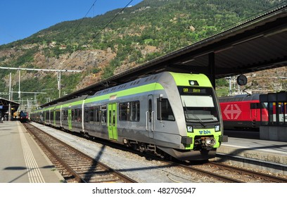 BRIG, VALAIS/SWITZERLAND - September 9, 2016. BLS Lotschberger EMU at Brig railway station, Valais, Switzerland