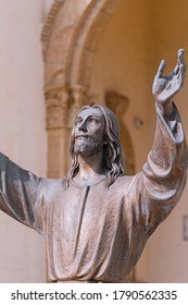 Brigantine, NJ / USA - July 16 2020: Christ of the Deep Statue in front of Saint Thomas the Apostle Church