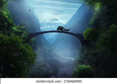 brigde in the fantasy forest - Shutterstock ID 1760460983