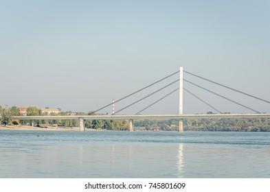 Brige of Liberty crossing the Dunabe river in Novi Sad, Vojvodina