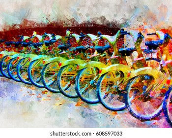 Bright abstract colorful illustration of bicycles in paris. Digital painting
