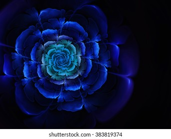 Bright abstract fractal blue flowers . Graphic element for design