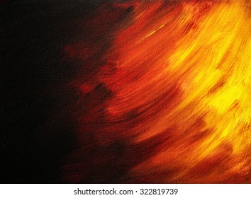 Bright abstract painting that looks like flames in night painted with acrylic paints