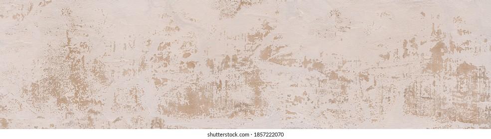 Helle abstrakte Struktur einer Wand mit schwerem verwittertem Gips - Panoramaausschnitt