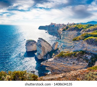 Bright afternoon scene of famous Bonifacio clifs - Le Grain de sable. Superb spring view of Corsica island, France, Europe. Brigth Mediterranean seascape. Traveling concept background.