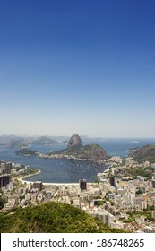 Bright afternoon skyline scenic overlook of Rio de Janeiro city with Sugarloaf Mountain Botafogo and Guanabara Bay