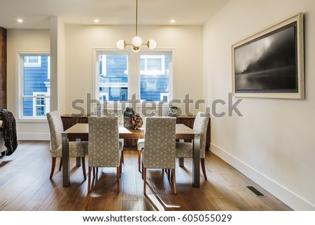 Bright Airy Modern Dining Room With Lights On