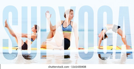 Bright alphabetic collage of sup board yoga