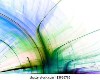 Bright arch of streaking colors - fractal abstract background