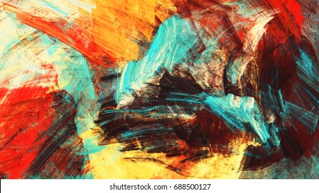Bright artistic heat splashes. Abstract beautiful multicolor painting color texture. Modern futuristic color background. Fractal artwork for creative graphic design