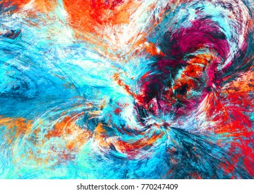 Bright artistic splashes. Abstract beautiful multicolor background. Dynamic painting red and blue color texture. Modern futuristic pattern. Fractal artwork for creative graphic design.