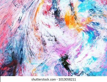 Bright artistic splashes. Abstract painting color texture. Modern futuristic winter pattern. Multicolor dynamic background. Fractal artwork for creative graphic design.