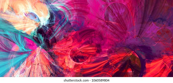 Bright artistic splashes. Abstract painting color texture. Modern futuristic pattern. Dynamic bright multicolor background. Fractal artwork for creative graphic design