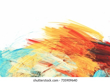 Bright artistic splashes on white. Abstract painting color texture. Modern futuristic pattern. Multicolor dynamic background. Fractal artwork for creative graphic design.