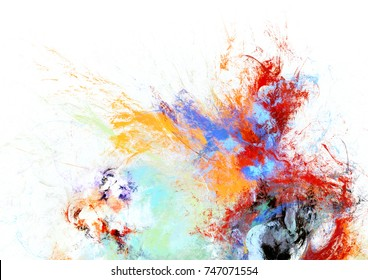 Bright artistic splashes on white. Abstract painting color texture. Modern futuristic pattern. Multicolor dynamic background. Fractal artwork for creative graphic design