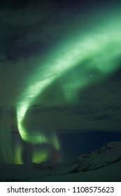 Bright aurora borealis captured near Tromso