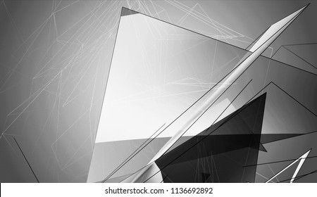 Bright background black & white illustration with triangles.