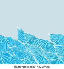 Bright background with blue waves. Background for your design. Space for your text. Business card, card, invitation, cover.