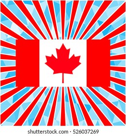 bright background for Canada Day. Polygonal pattern. Raster copy. Template for greeting card backgrounds.. For design, design, advertising banners