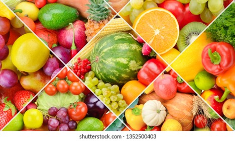 Bright background from the collection of fruits and vegetables. Photo collage.